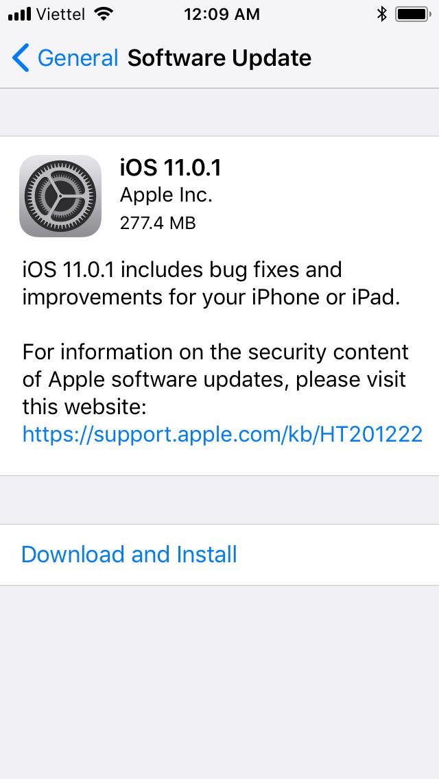 ios 11.0.1 ios 11.0.1 - Apple phát hành bản cập nhật mới nhất iOS 11.0.1