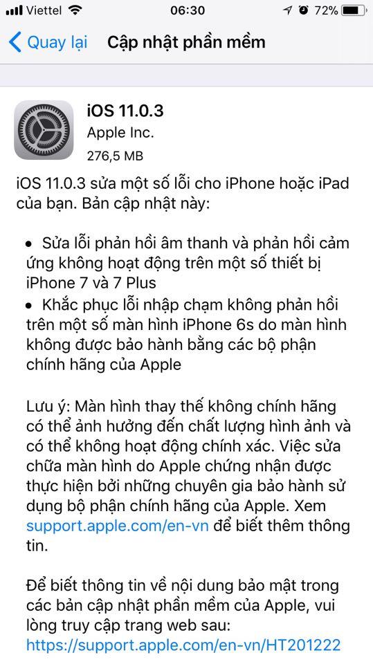 iOS 11.0.3 ios 11.0.3 - Apple tung iOS 11.0.3 giúp sửa lỗi iPhone đơ cảm ứng