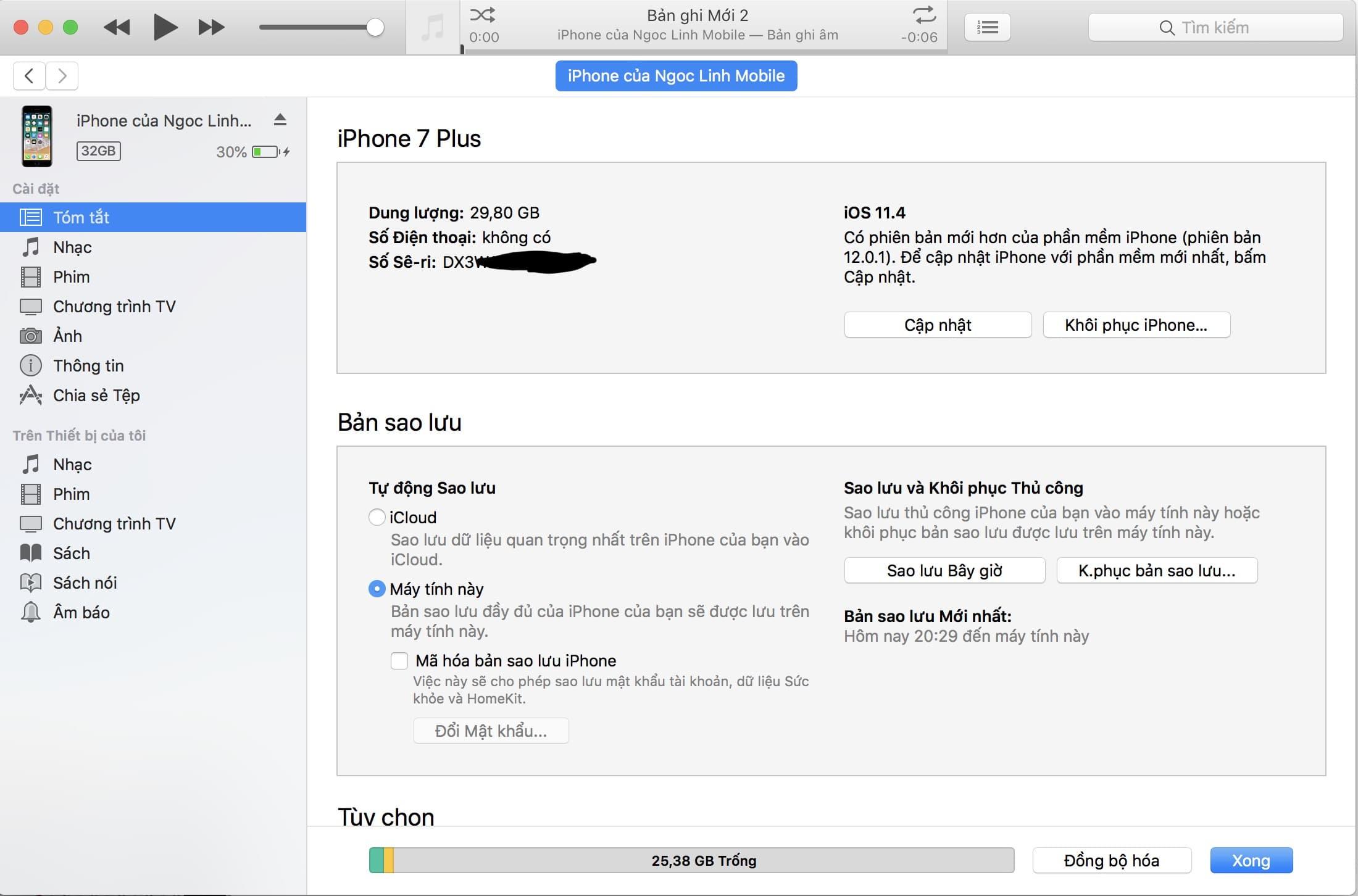 sao lưu dữ liệu bằng iTunes sao lưu dữ liệu bằng iTunes - Cách sao lưu dữ liệu bằng iTunes
