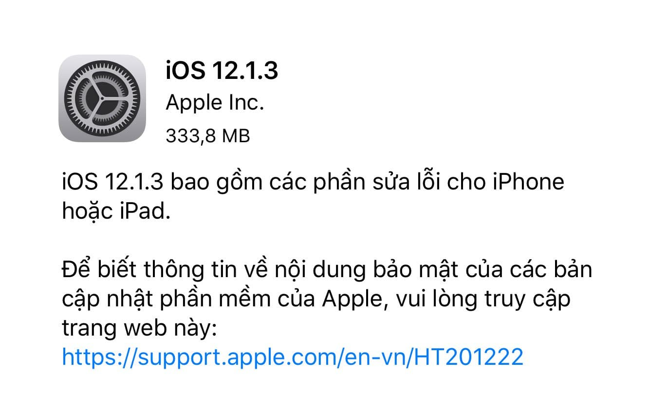 iOS 12.1.3 iOS 12.1.3 - Những điều cần lưu ý trước khi cập nhật iOS 12.1.3