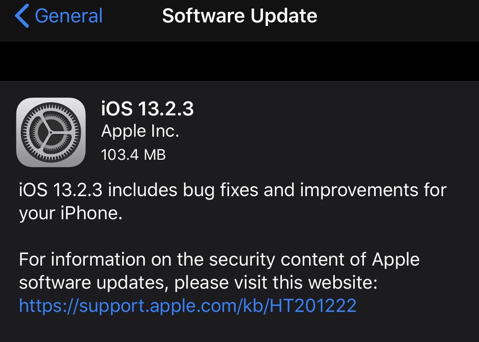 iOS 13.2.3 iOS 13.2.3 - Apple lại cung cấp thêm hệ điều hành iOS 13.2.3