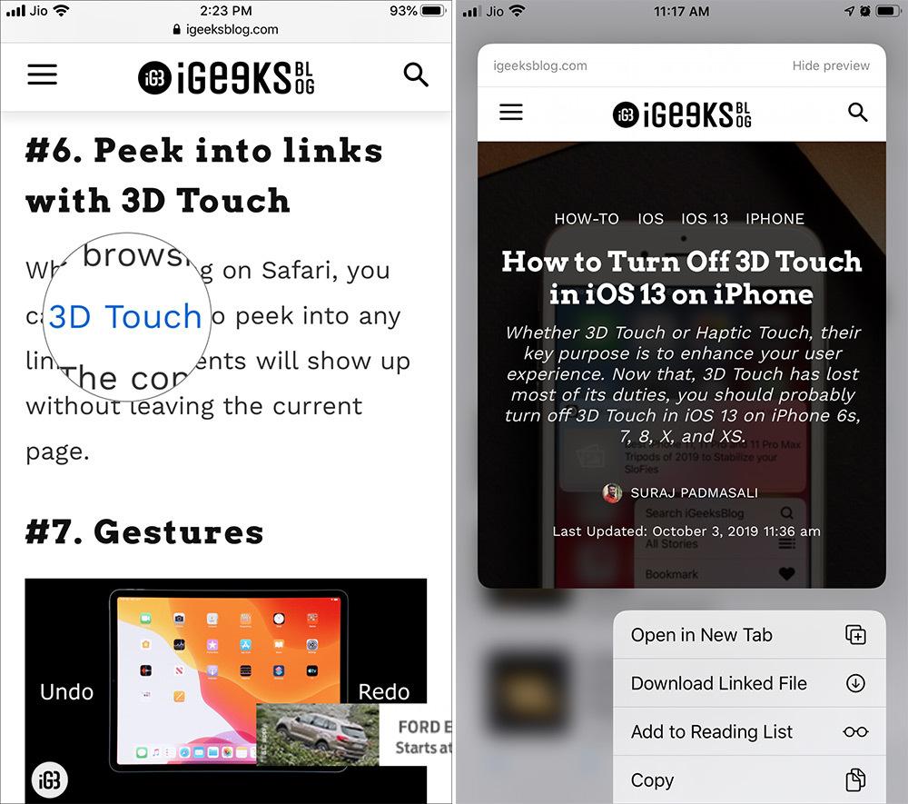 iOS 13 - Làm sao để tắt tính năng hiển thị bản xem trước của Safari trên iOS 13