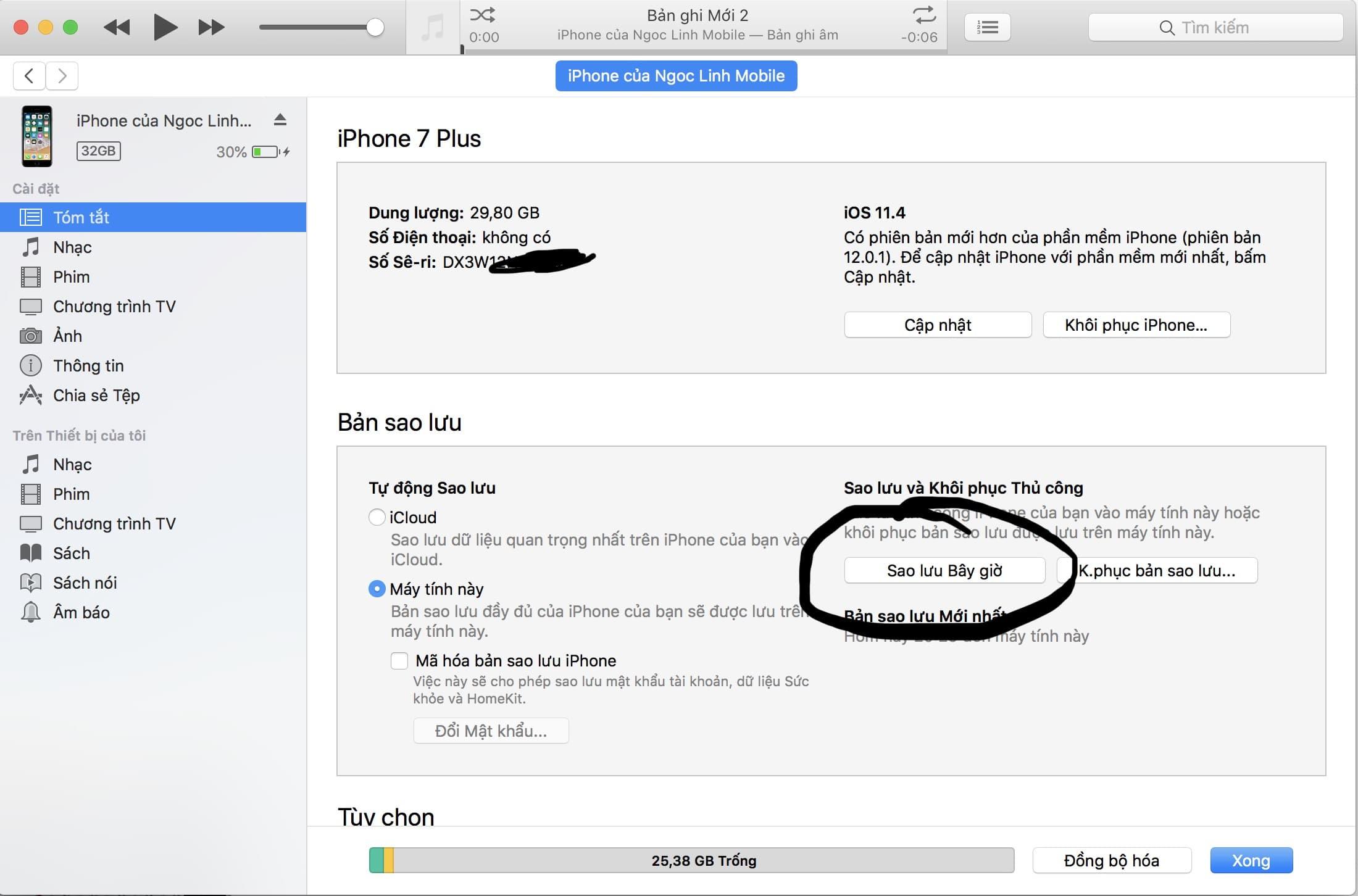 sao lưu dữ liệu bằng iTunes